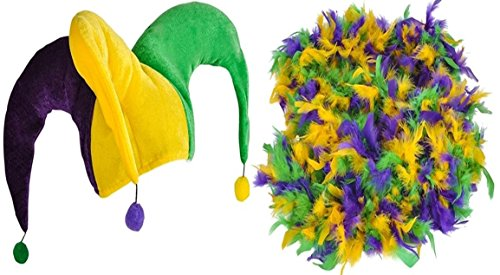 [Mardi Gras Jester Hat with Pom-poms and Feather Boa Set] (Crawfish Costumes)