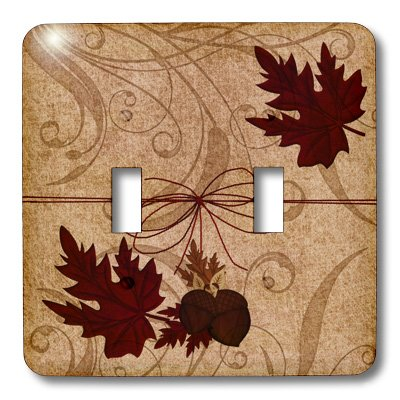 3dRose lsp/_173232/_2 Red Maple Leaves with Acorns and a Twine Bow for an Autumn Feel Light Switch Cover