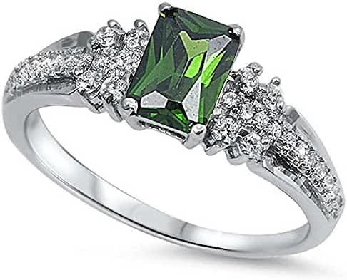 Radiant Cut Simulated Emerald & Cz .925 Sterling Silver Ring Sizes 4-10