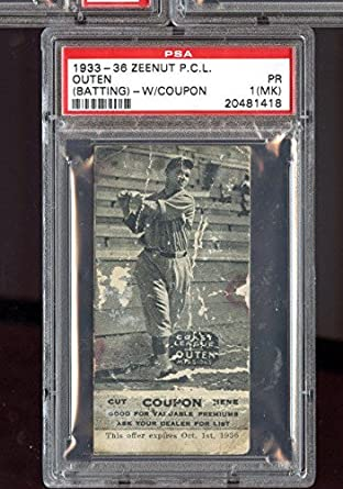 1933 Zeenut Pcl Pcl With Coupon Outen Psa 1 Mk Graded Baseball