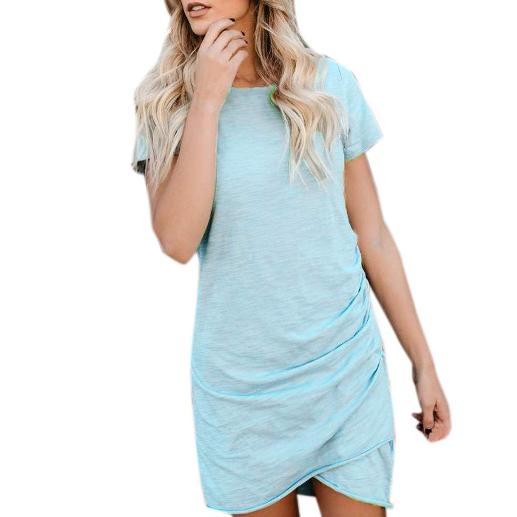 Womens Dress Shirts Summers Sexy Wrap Dress Short Sleeve Solid Casual Skirt Sun Mini Dress Blue
