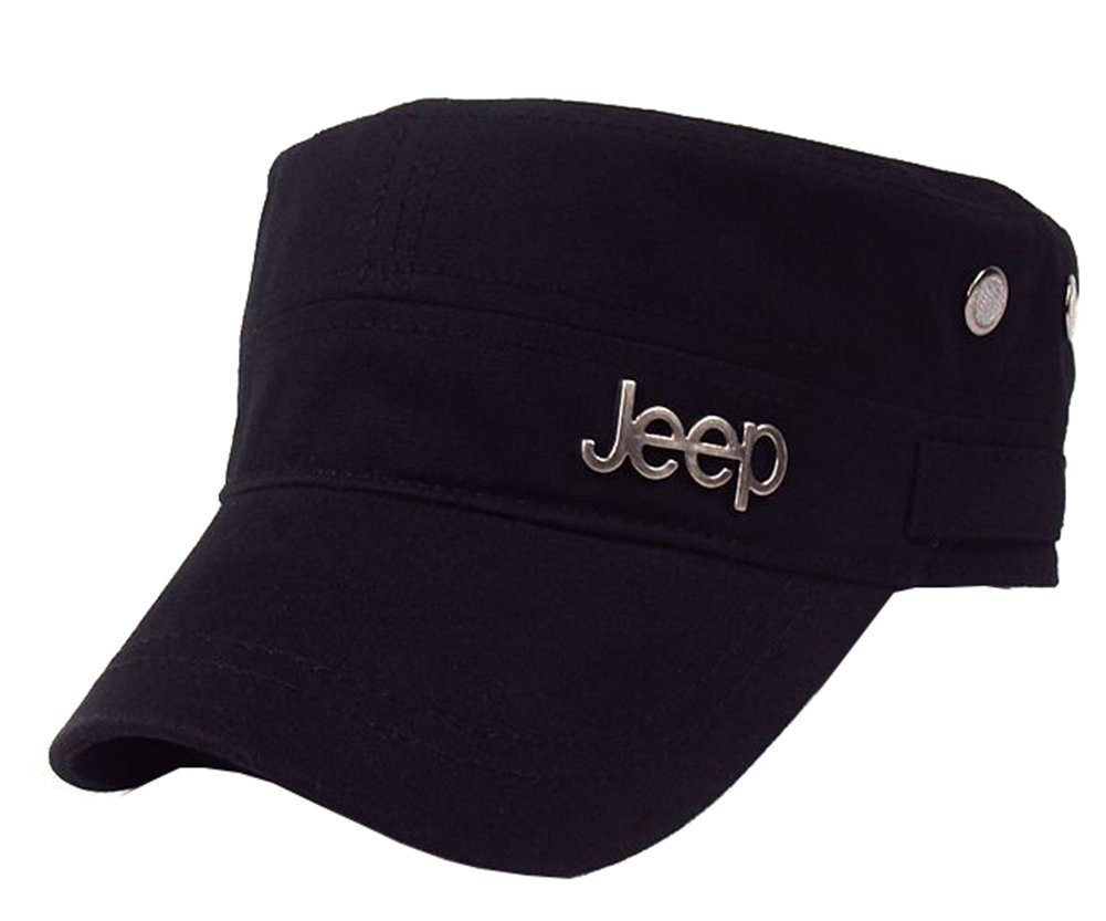 Jeep Men's Adjustable Military Cadet Hat,Black