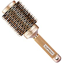 [Upgraded] SUPRENT Nano Thermal Ceramic & Ionic Round Barrel Hair Brush with Boar Bristle, Blowout Brush for Blow Drying, Curling &Straightening, Perfect Volume & Shine (2 inch)