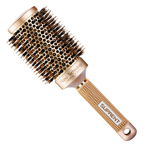 "Price comparison product image SUPRENT Blowout Nano Thermic Ceramic & Ionic Round Barrel Hair Brush with Boar Bristle,  Best Roller Hairbrush for Blow Drying,  Curling&Straightening,  Perfect Volume&Shine (3.3"" Barrel 2 Inch)"