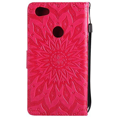 Funda Redmi Note 5, SsHhUu Funda PU Piel Genuino Carcasa en Folio [Ranuras para Tarjetas] [Cierre Magnetico] con Lápiz óptico + Acollador para Xiaomi Redmi Note 5 / Y1 / Note 5A (5.5) Púrpura Rojo