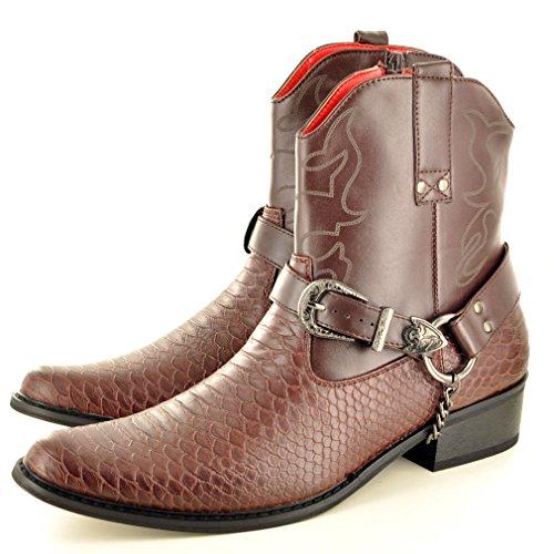 Herrenstiefel aus Schlangenhaut mit Reißverschluß, Western- Cowboy- Stiefel, knöchelhoch Dunkelbraun