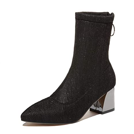 e5cf50437a529 lkykcn Sexy Women Ankle Boots Party High Heels Silver Ladies Pointed Toe  Sock Boots Casual Low