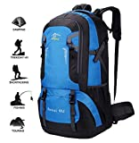 New Hiking Backpack - Waterproof Sport Daypack Shoulder Bag for Backpacking Climbing Mountaineering Camping Trekking Travel (Blue-60L)