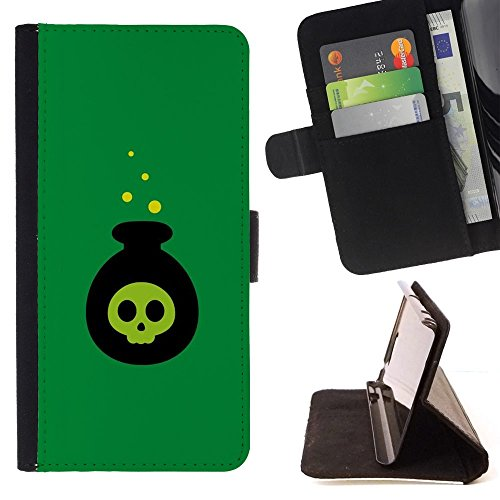 Poison Bomb Cartoon Halloween Witch - Colorful Pattern Flip Wallet Leather Holster Holster Protective Skin Case Cover For Apple (4.7 inches!!!) iPhone 6 / 6S ()