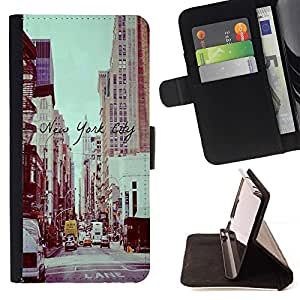 For HTC Desire 820 New York City Vignette Sepia Street Style PU Leather Case Wallet Flip Stand Flap Closure Cover