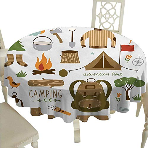 (Adventure Washable Table Cloth Camping Equipment Sleeping Bag Boots Campfire Shovel Hatchet Log Artwork Print Washable Polyester - Great for Buffet Table, Parties, Holiday Dinner, Wedding & More D54
