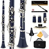 Mendini Blue ABS B Flat Clarinet with 2 Barrels, Case, Stand, Pocketbook, Mouthpiece, 10 Reeds and More, MCT-2BL+SD+PB