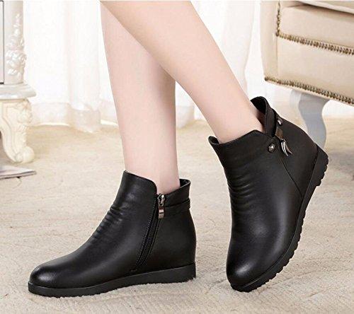 KHSKX-Negro 2.5Cm Invierno Madre Zapatos Zapatos De Algodón Además De Terciopelo Botas Flat-Bottomed Imitación Cuero Suave Antideslizante En La Parte Inferior De La Cálida Botas Y 38 Mujeres Mayores 37