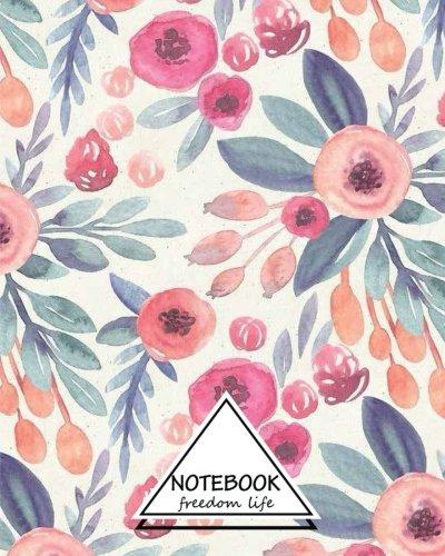 Notebook Dot-Grid,Graph,Lined,Blank No Lined  Watercolor Flowers v.2  Pocket Notebook Journal Diary, 110 pages, 8 x 10 (Blank Notebook Journal) [Life, Freedom] (Tapa Blanda)