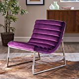 Felicia Parisian Modern Eggplant Velvet Sofa Chair Review