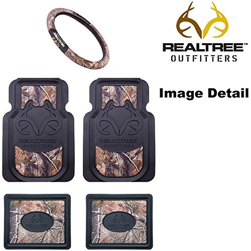 - Realtree Outfitters Camo Car Truck SUV Front & Rear Seat Heavy Duty Trim-to-Fit Rubber Floor Mats & Steering Wheel Cover - 5PC