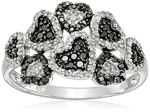 Sterling Silver Multi Hearts Black and White Diamond Ring (3/8 cttw, I-J Color, I2-I3 Clarity), Size 7 by Amazon Collection