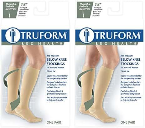 Truform 8808 Anti-Embolism Knee Length Closed Toe 18 mmHg Stockings, Beige, Medium (Pack of 2)