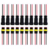 Satinior 10 Kits 2 Pin Way Car Waterproof Electrical Connector Plug with Wire, 20 AWG Marine