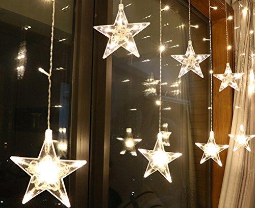 SMITHROAD 2,5 M Lang LED Sterne Lichterkette Lichtervorhang für Innen/Außen Fenster Deko Weihnachten,Warmweiß