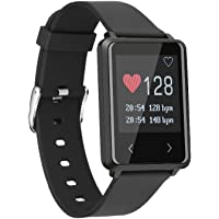 OPTA TK002-SB-005 Rubber Bluetooth Heart Rate Sensor Smart Band and Fitness Tracker for Android/iOS Mobile Phones (Medium, Black)