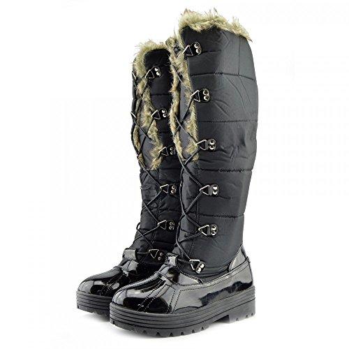 Kick Schuhe Damen Schnee Flach Pelz Gefüttert Winter-Schwarz-Stiefel Mid-calf Black
