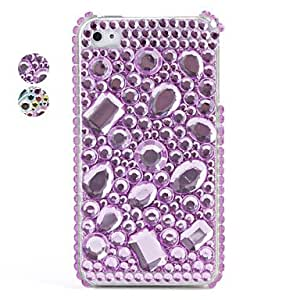 SHOUJIKE Colorful Protective PVC Case with Crystals Cover for iPhone 4, 4S , Purple