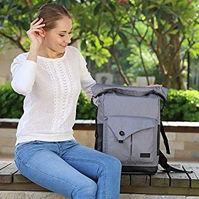 Lekesky Rolltop Laptop Backpack 156 Inch Minimalist Bike Travel Backpack with Waterproof and Anti