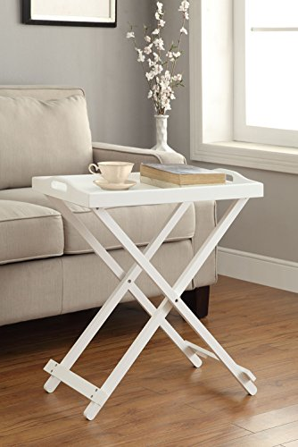 Convenience Concepts Designs2Go Folding Tray Table, White - Nautical Set Tv Tray