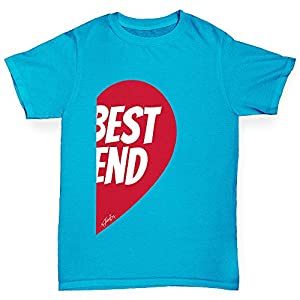 Twisted Envy Girl's My Best Friend #2 Cotton T-Shirt, Comfortable and Soft Classic Tee with Unique Design Age 9-11 Azure Blue