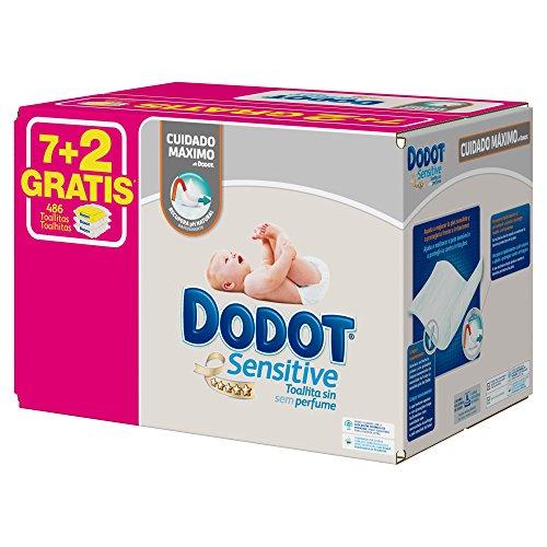 Dodot Sensitive – Toallitas para bebe, 9 paquetes de 54 unidades
