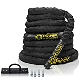 "POWER GUIDANCE Battle Rope, 1.5"" Width Poly Dacron 30/40/50ft Length Exercise Equipment for Home Gym & Outdoor Workout, Battle Rope Anchor Included (1.5'' 30FT Length)"