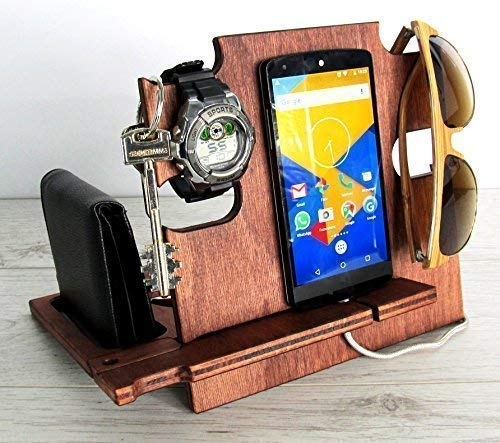 (Christmas Gift for Men, Wooden Docking Station - Phone Stand, Desk Organizer for Devices)