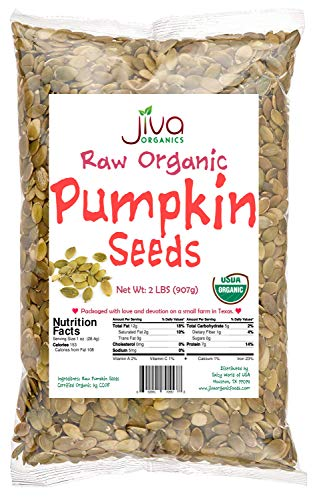 Jiva Organics Organic Pepitas / Pumpkin Seeds (Raw, Sproutable) - 2 Pound Bag ()