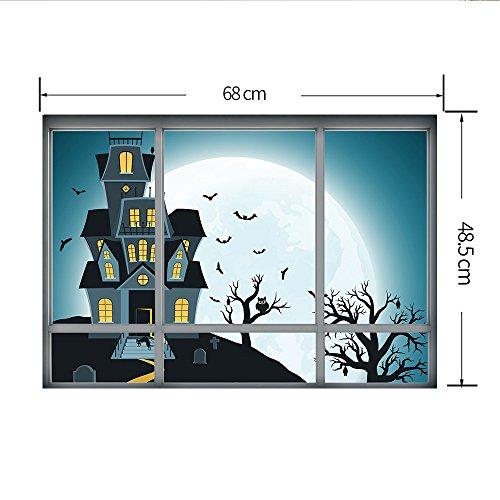 Minions Halloween Wallpaper (Halloween Wall Stickers 3D Window Decals Pumpkin Weird Building Graphic Sticker Removerable DIY Vinyl Decal for Home Wall Art Mural Wallpaper Haunted House Party Supplies 19.69x26.77)