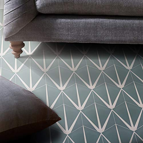 Flooring Mosaic Green - Moroccan Mosaic & Tile House CTP72-04 Menara Handmade Cement Tile 8''x9'' Green and White