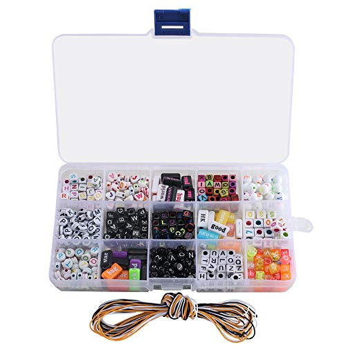 DIY Beads Set, ETSAMOR 15 Different Types 1100 Alphabet Beads with Colorful Letters for Kids DIY Bracelets, Necklaces, Children's Educational Toys, Handmade Gift and Key Chains