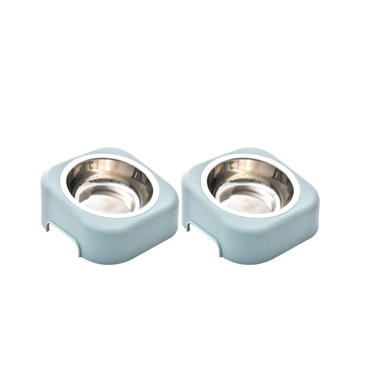bluee Two bluee Two Qinniao Pet Bowl Dog Bowl Cat Bowl Stainless Steel Pink bluee Dog Bowl (color   bluee, UnitCount   Two)