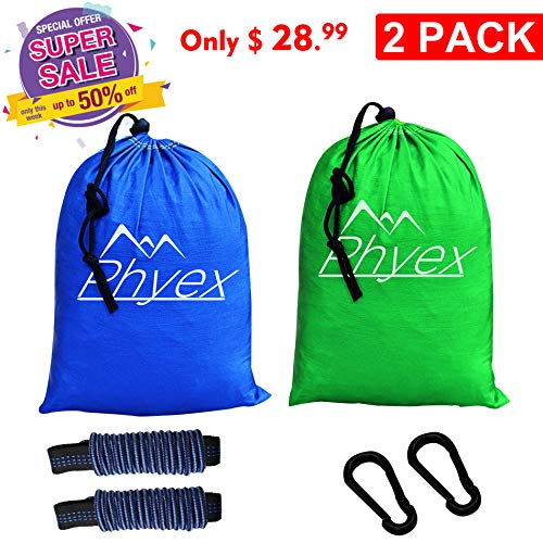 - Phyex 2-Pack Double Camping Hammock - Lightweight Hammock for Camping, Travel, Hiking, Beach, Yard. Fit 2 Person, 118