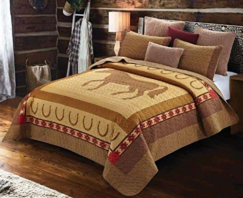 3pc California King Size Country Western Ranch Lodge Cabin Horse Quilt Set with Horseshoe and Southwest Aztec Accents