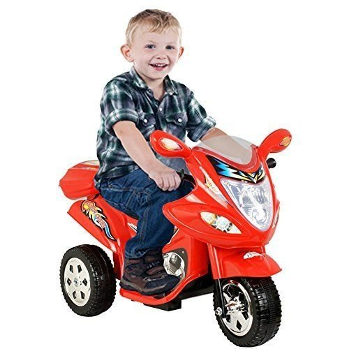 Price comparison product image Kids Ride On Motorcycle 6V Toy Battery Powered Electric 3 Wheel Power Bicyle, Durable plastic body design, Recommend for 18 months-4 years (Red)