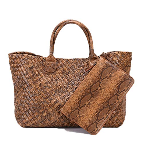European And American Style Python Print Woven Leather Handbag Capacity Purse Women Knitting Large Casual Tote - Leather Tote Python