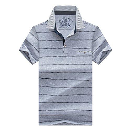 SemiAugust(セミオーガスト)メンズ ポロシャツ 半袖 ゴルフ ウェア ボーダー シャツ スポーツウェア コットン カジュアル ボタンダウン 吸汗速乾 トップス おしゃれ ビジネス