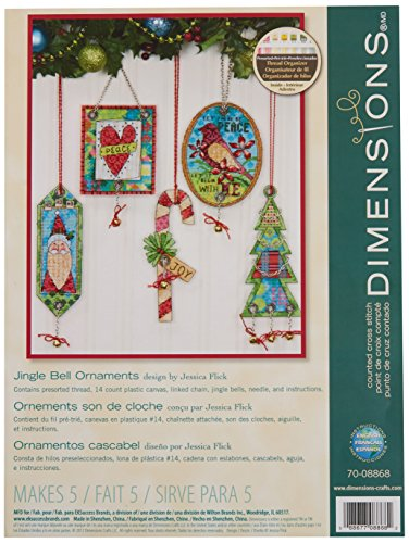 Dimensions Counted Cross Stitch Jingle Bell Ornament Kit, 5 pcs