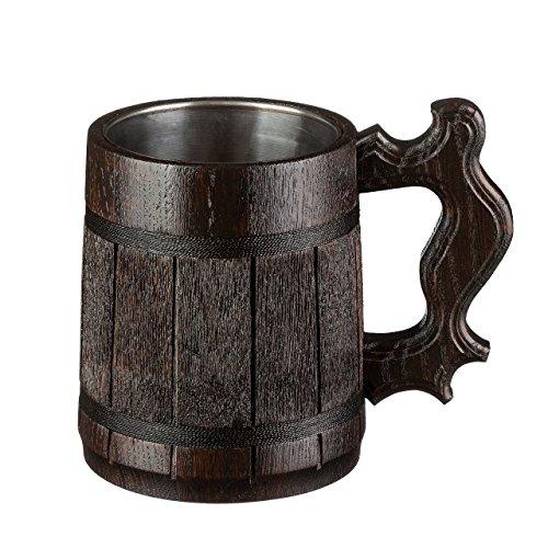 Handmade Oak Wooden Beer Mug By WoodenGifts - 0.6 Litres Or 20oz Capacity Eco Friendly Drinking Mug - Rustic Barrel Design - Stainless Steel Cup - The Perfect Gift - Dark Brown (Dark Brown)
