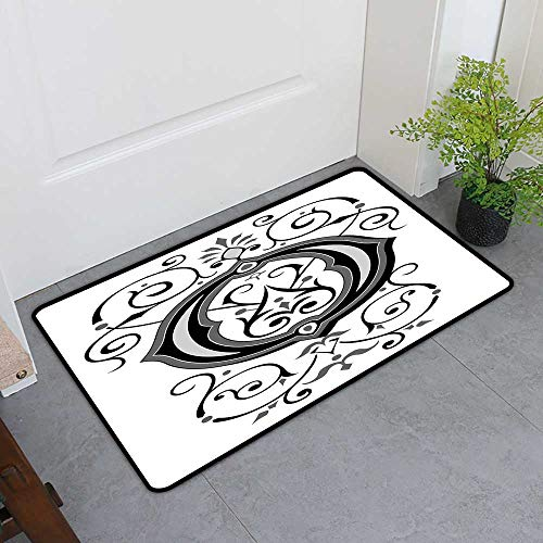 Heel Inlet - TableCovers&Home Inlet Outdoor Door Mat, Letter O Custom Out-Imdoor Rugs for Kitchen, Oriental Styled Capital O with Rococo Figures Design Middle Age Inspired (Black Grey White, H16 x W24)
