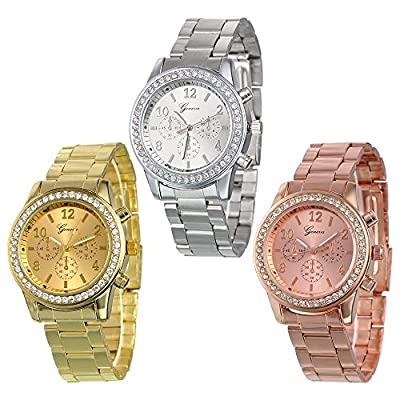3 PACK Geneva Silver Gold and Rose Gold Plated Classic Round CZ Ladies Boyfriend Watch by Dream Wireless, Inc.