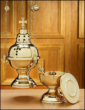 Autom Eastern Rite Censer with 12 Bells and Boat Set