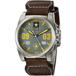 U.S. Army Wrist Armor Men's 'C1' Swiss Quartz Stainless Steel and Leather Watch, Color:Brown (Model: 37WA0215L01A)