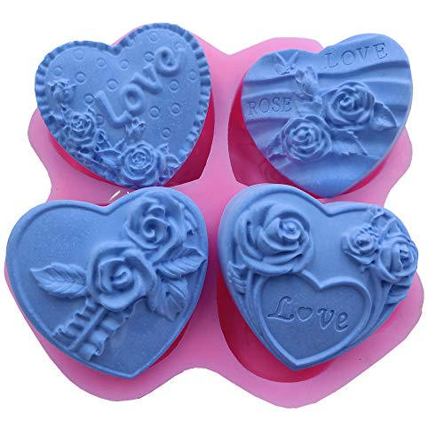 Great Mold Love Heart Shaped Silicone Soap Molds 4 Cavity Rose Flower Soap Making Mold Cake Molds Candle Molds for Valentines Gift ()